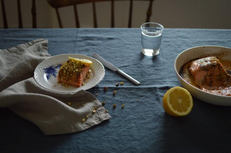 Pistachio-crusted salmon recipe