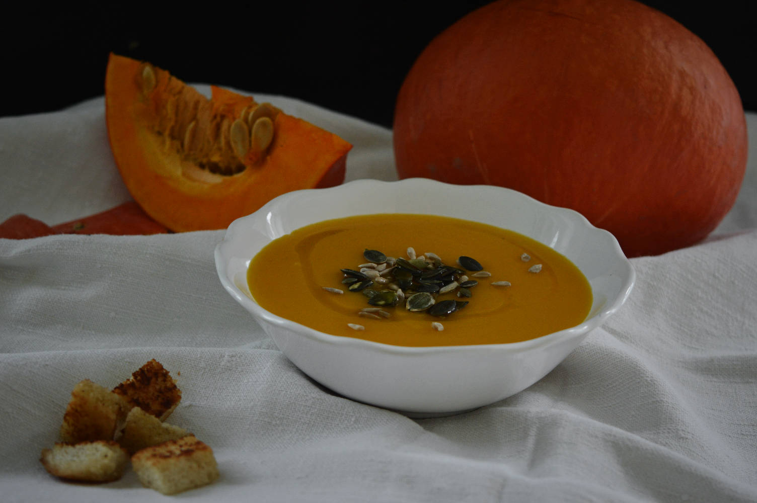 Pumpkin velvet soup with fresh ginger