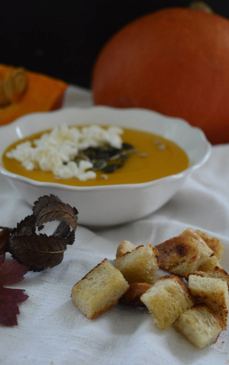 Pumpkin velvet soup with fresh ginger