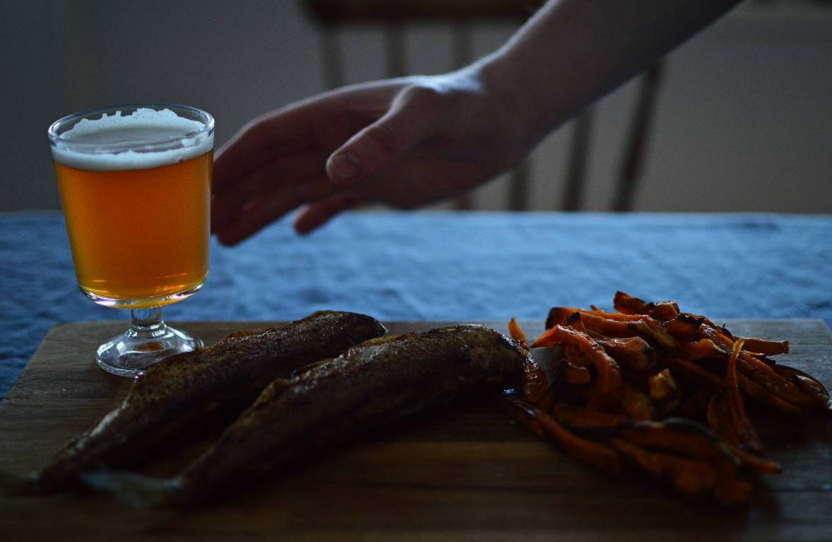 Fried whitefish with Lura, the Finnish-Italian beer