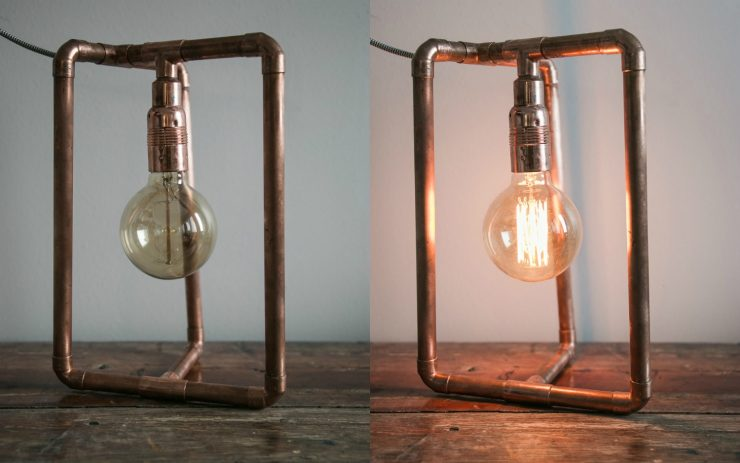 Sleeping survival guide for Nordic countries | Edison light bulb | Copper lamp from Pipe-Lite by Marte | on Due fili d'erba | Two blades of grass | Photos by Thais FK