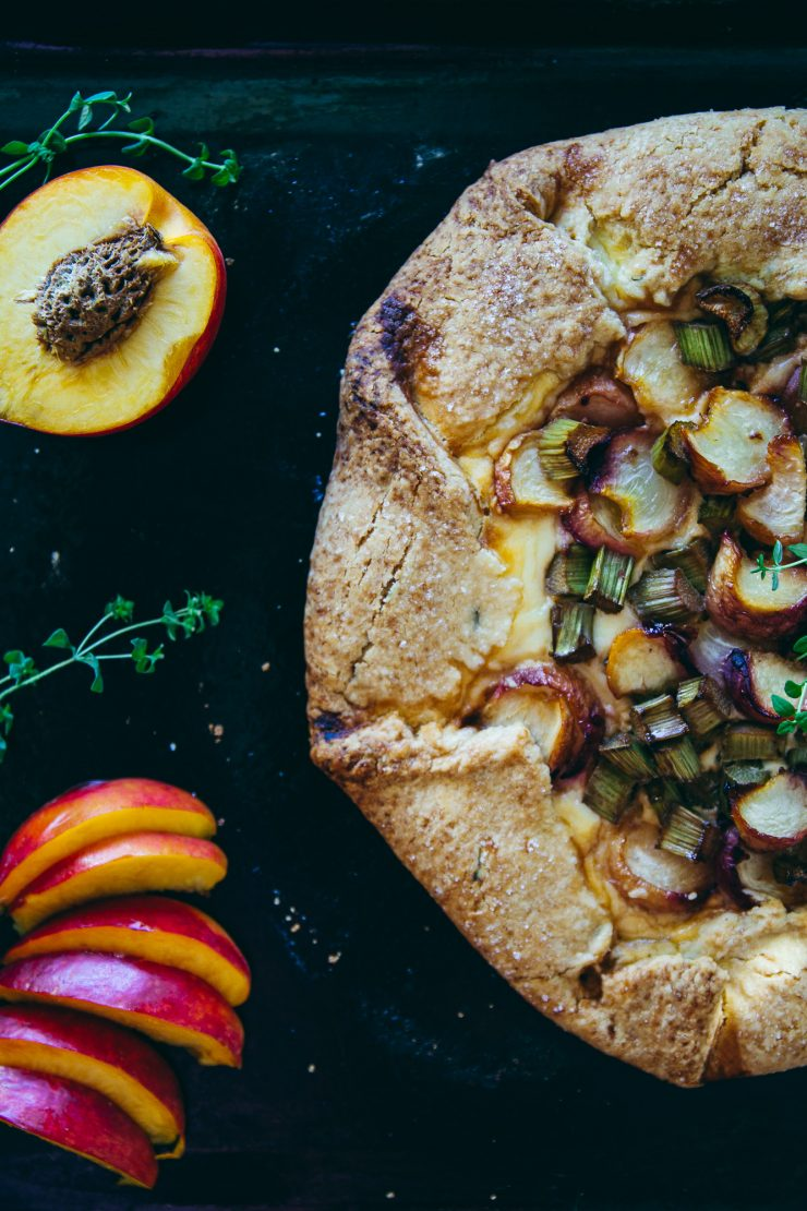Rhubarb Peach Galette with Ricotta Filling and Thyme Crust on The Adagio Blog