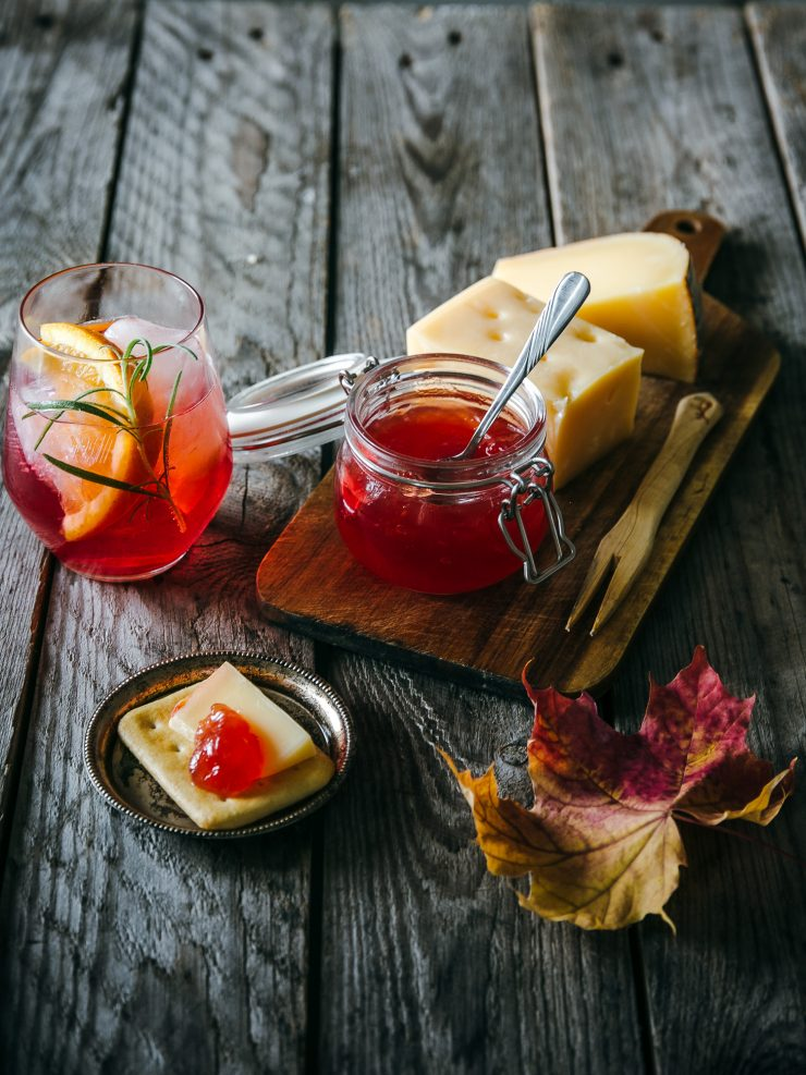 Lingonberry Aperitivo paired with Rowan Jam and hard cheeses | Cocktails Adagio by The Adagio Blog