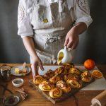 Saffron Cinammon Buns with Orange Vanilla glaze (Korvapuusti)